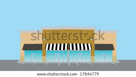 illustration of an upscale strip mall - stock vector