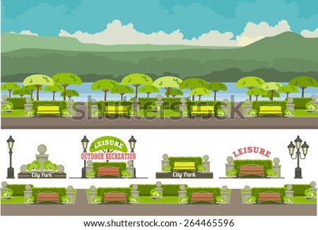 illustration of an urban park in the lane with benches horizontal panoramic - stock vector