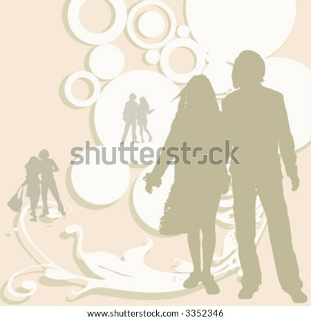 illustration of an urban scene with couples silhouettes