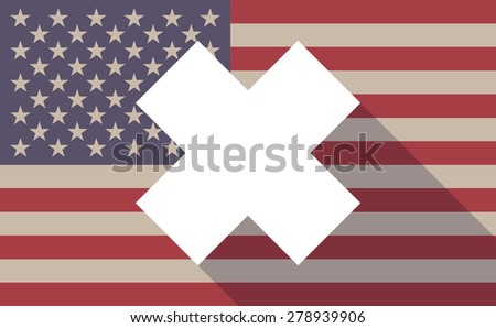 Illustration of an USA flag icon with an irritating substance sign - stock vector