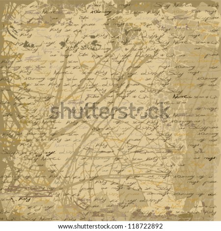 illustration of ancient old letter - stock vector