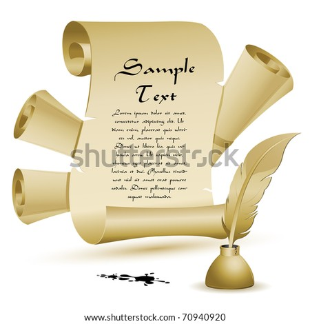 illustration of ancient old letter with feather and ink pot - stock vector