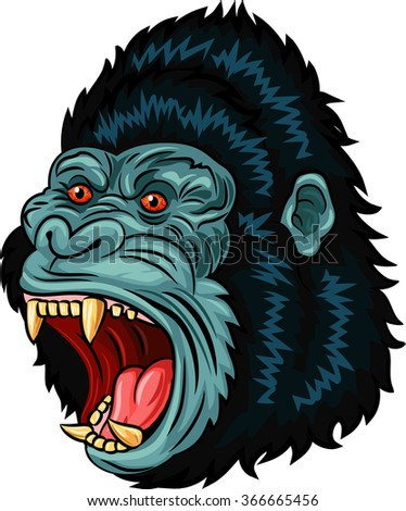 Illustration of Angry gorilla head character isolated on white background - stock vector