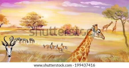Illustration of animals in savannah vector  - stock vector