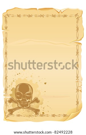 illustration of antique letter with grungy skull - stock vector