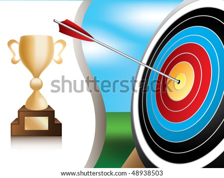 Illustration of archery target and gold trophy - stock vector