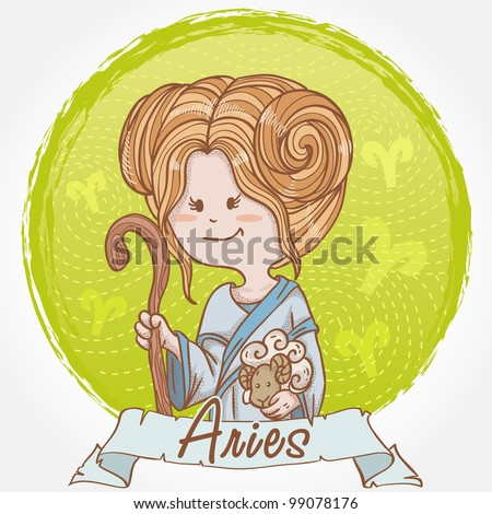 Illustration of Aries zodiac sign in cute cartoon style as a girl holding a sheep and dressed like shepherd