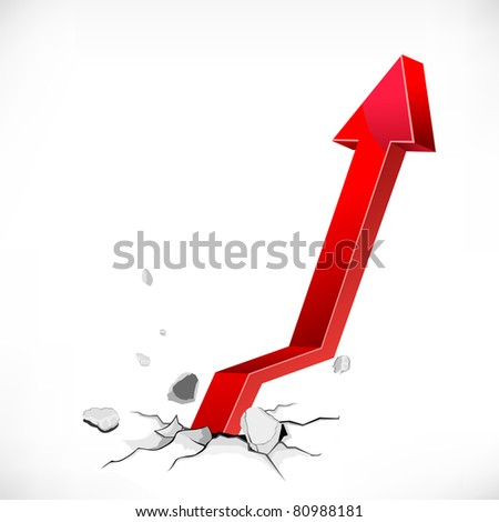 illustration of arrow coming out of cracked ground on abstract background - stock vector