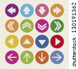 Illustration of arrow icons, in different shapes and colors, vector illustration - stock photo