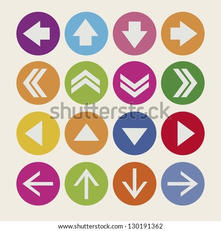 Illustration of arrow icons, in different shapes and colors, vector illustration - stock vector