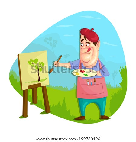 illustration of artist painting on canvas in vector - stock vector