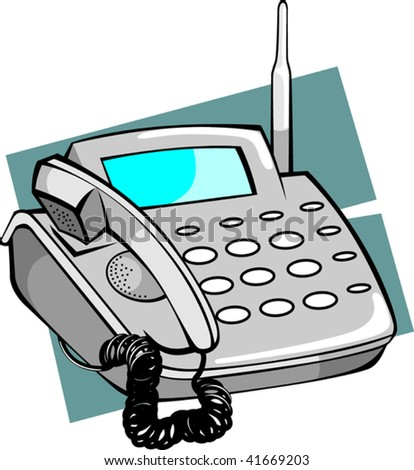 Illustration of ash coloured telephone with display - stock vector