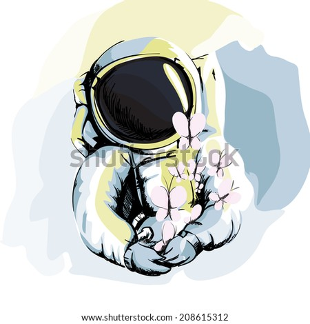 Illustration of Astronaut on White Background - stock vector