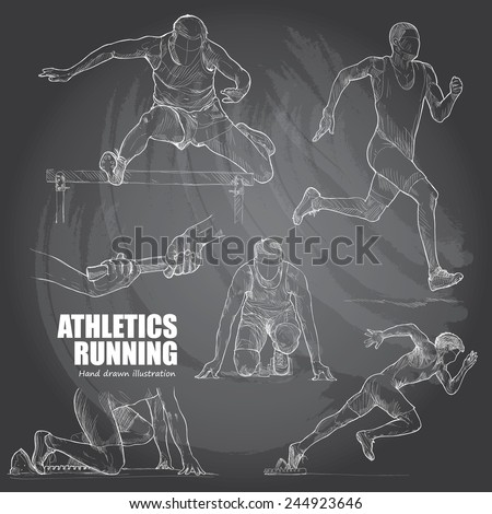 Illustration of Athletics. Hand drawn. chalkboard. vector. - stock vector