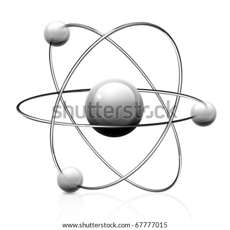 illustration of atom icon isolated on white background - stock vector