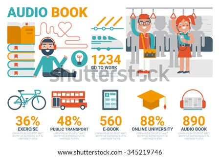 Illustration of audio book infographic concept with icons and elements - stock vector