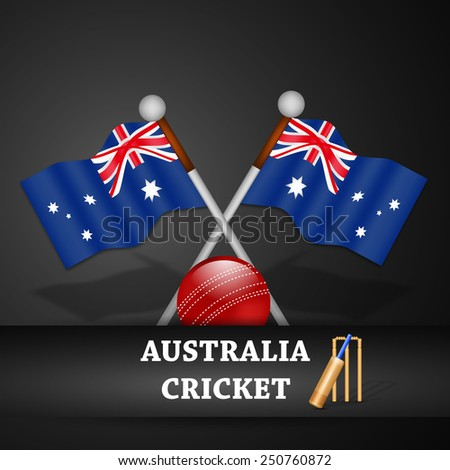 Illustration of Australia Flag with Cricket elements - stock vector