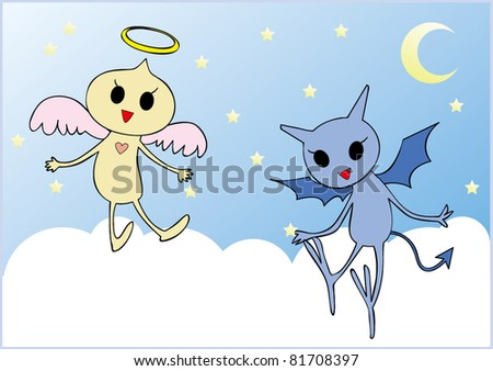 Illustration of Baby Angel and Devil. - stock vector