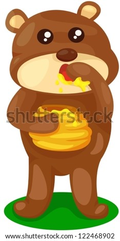 illustration of baby bear with pot of honey on white
