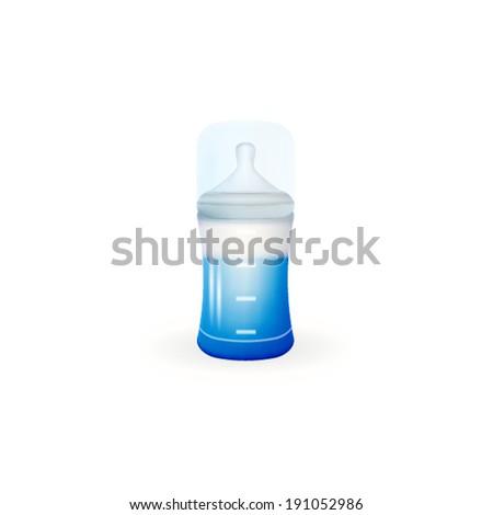Illustration of baby feeding bottle. Blue baby feeding bottle with measure silicone nipple. Isolated vector illustration on white. - stock vector