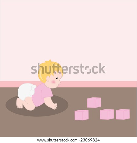 Illustration of baby girl with diaper crawling in room with toys - stock vector