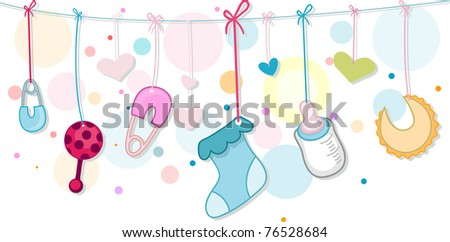 Illustration of Baby Related Items - stock vector