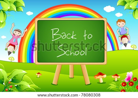 illustration of back to school on black board with flying kids in landscape background - stock vector