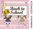 Illustration of back to school, school supplies, vector illustration - stock vector