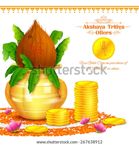 illustration of background for Akshaya Tritiya celebration - stock vector