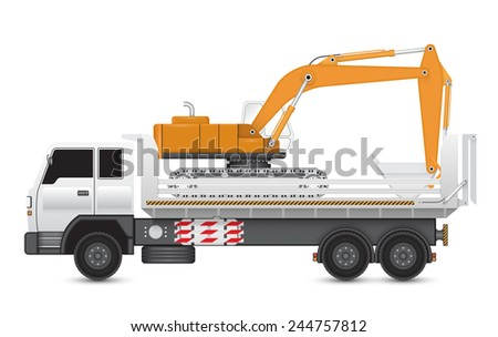 Illustration of backhoe machine on heavy truck. - stock vector