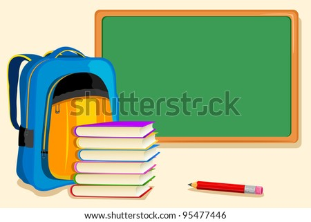 illustration of bag and book with pencil infront of blackboard - stock vector