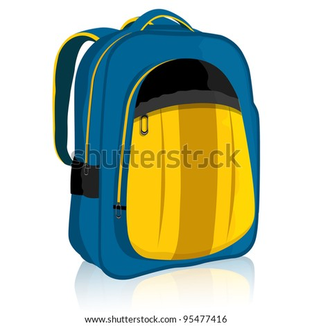 illustration of bag pack on isolated white background