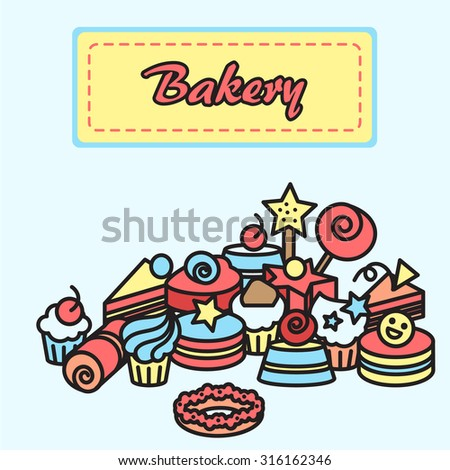 Illustration of bakery and cake icons sticker. Candy, sweet banner. Vector - stock vector