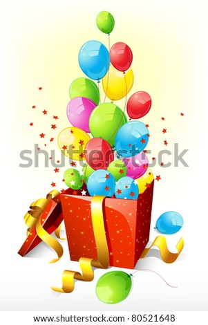 illustration of balloon and sparkle coming out of open gift box - stock vector