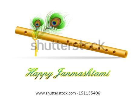 illustration of bansuri with Peacock feather in Janmashtami - stock vector