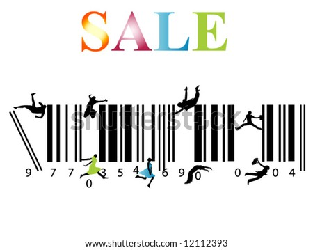 Illustration of bar-code and people, sale - stock vector