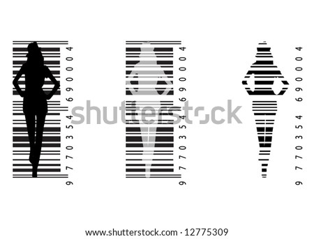 Illustration of bar-code and woman - stock vector