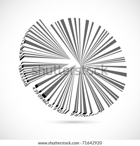 illustration of bar code pie chart on abstract background - stock vector