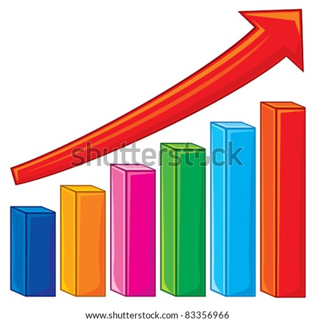 illustration of bar graph (increase diagram, graph showing rise in profits or earnings) - stock vector