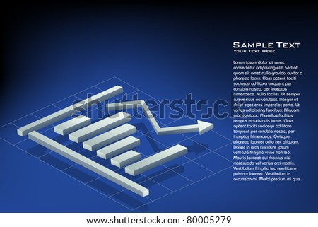 illustration of bar graph on abstract background - stock vector