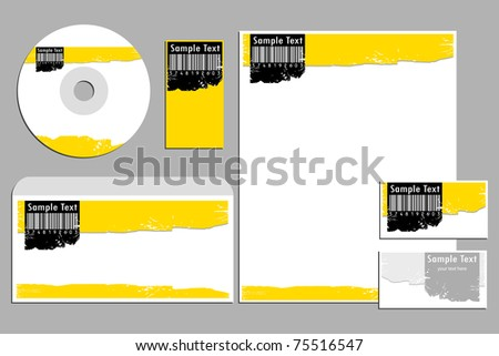 Illustration barcode business template business cardcd stock illustration of barcode business template with business cardcd cover and letter head colourmoves