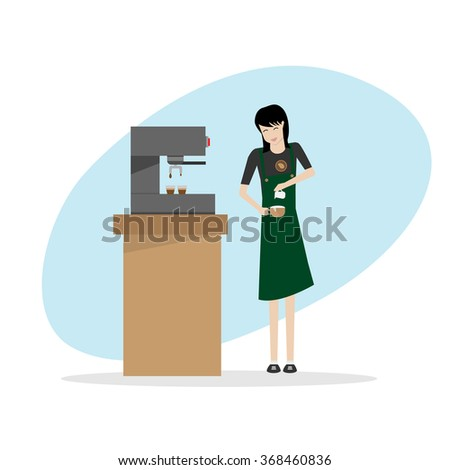 illustration of barista girl in apron preparing coffee