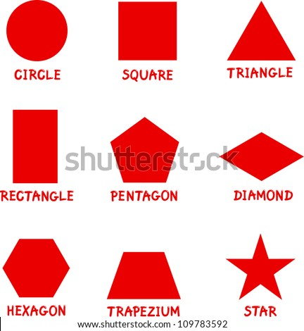 Illustration of Basic Geometric Shapes with Captions for Children Education - stock vector