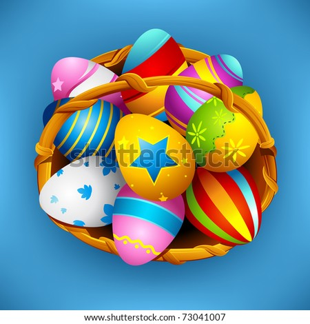 illustration of basket full of colorful decorated easter eggs with ribbon - stock vector
