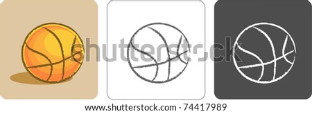 Illustration of Basketball Color Sketch - stock vector