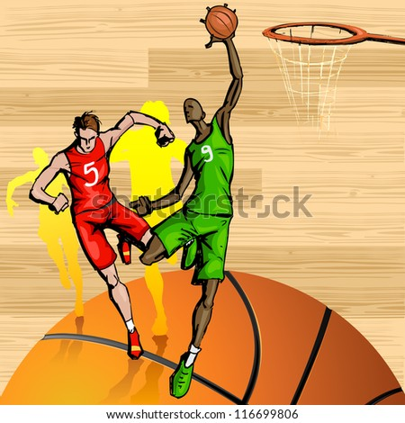 illustration of basketball player playing on abstract background - stock vector