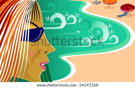 Illustration of beach in colour background