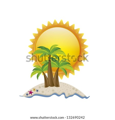 Illustration of beach. summer vacation on the beach, vector illustration
