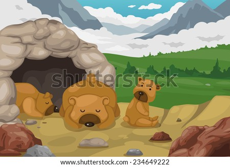 illustration of bear on mountains landscape background vector - stock vector