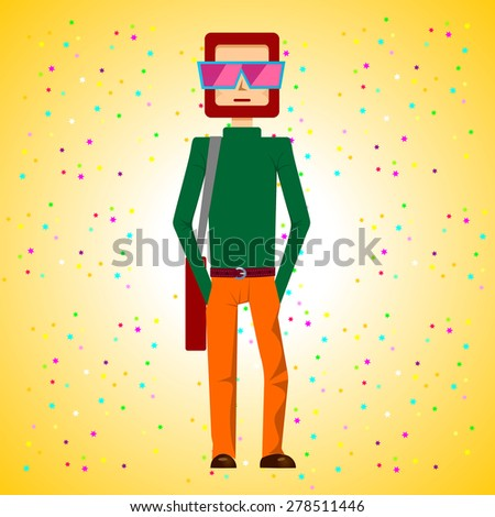 illustration of bearded young man standing with hands in his pockets and with bag over his shoulder - stock vector